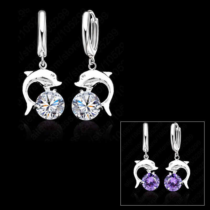 Hot Sale 925 Sterling Silver Cubic Zirconia Lever Back Loop Earrings Lovely Dolphin Design Jewelry For Woman Girl