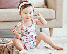 Hot Baby Girl Rompers Cute Infant Summer Jumpsuit Fashion Kids Floral Clothes Toddler Pink Playsuit Clothes