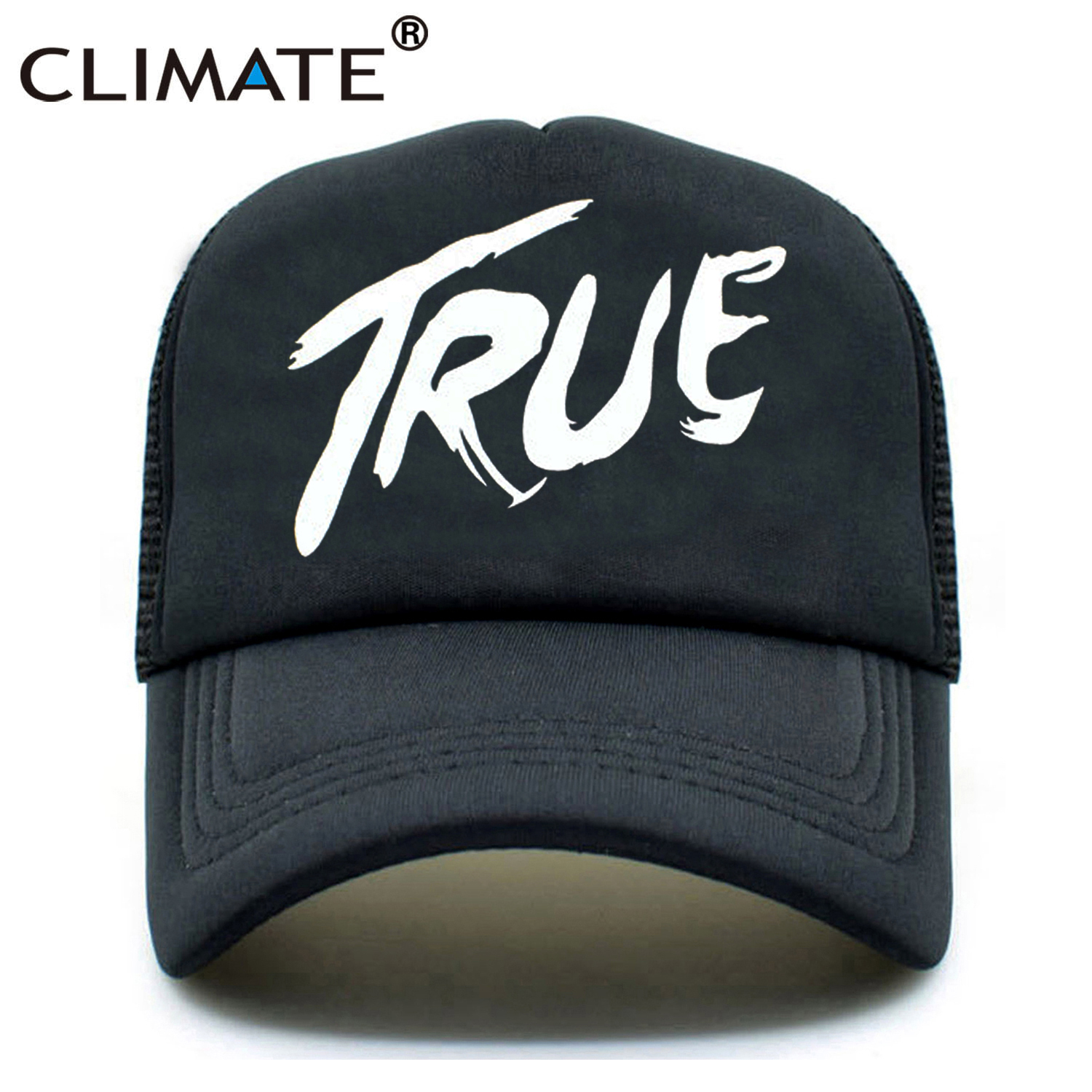 CLIMATE Men Women New Trucker Caps AVICII TRUE Hot Music DJ Caps Hot Summer Music AVICII Fans Baseball Mesh Net Trucker Cap Hat climate men summer black mesh caps star wars bounty hunter fans cool summer baseball cap black net trucker caps hat for men