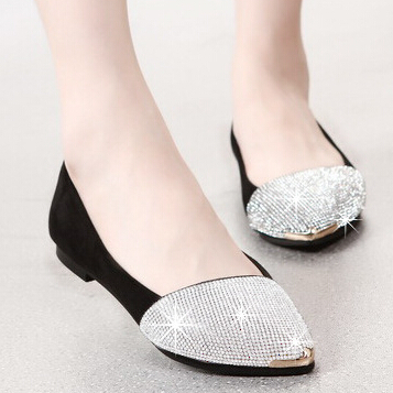 9cd7aa5707a Sexy rhinestones loafers for women flat shoes pointed toe moccasins  pregnant woman footwear female slippers mocasines mocassim