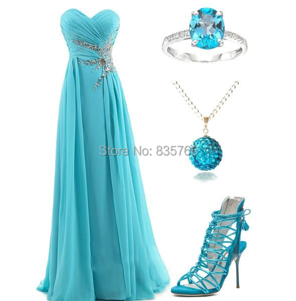 Long Turquoise Dresses For Bridesmaid Sexy Sweetheart Backless Chiffon Vestidos Festas Longo Casamento Madrinhas Beading Slit