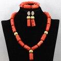 Африканские Нигерийские Коралловые Бусы для Женщин Свадебные Коралловые Бусы Комплект Ювелирных Изделий Позолоченные Ювелирные Наборы Бесплатная Доставка CNR448