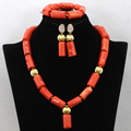 African Nigerian Coral Beads for Women Wedding Coral Beads Jewelry Set  Gold Plated Jewelry Sets Free Shipping CNR448
