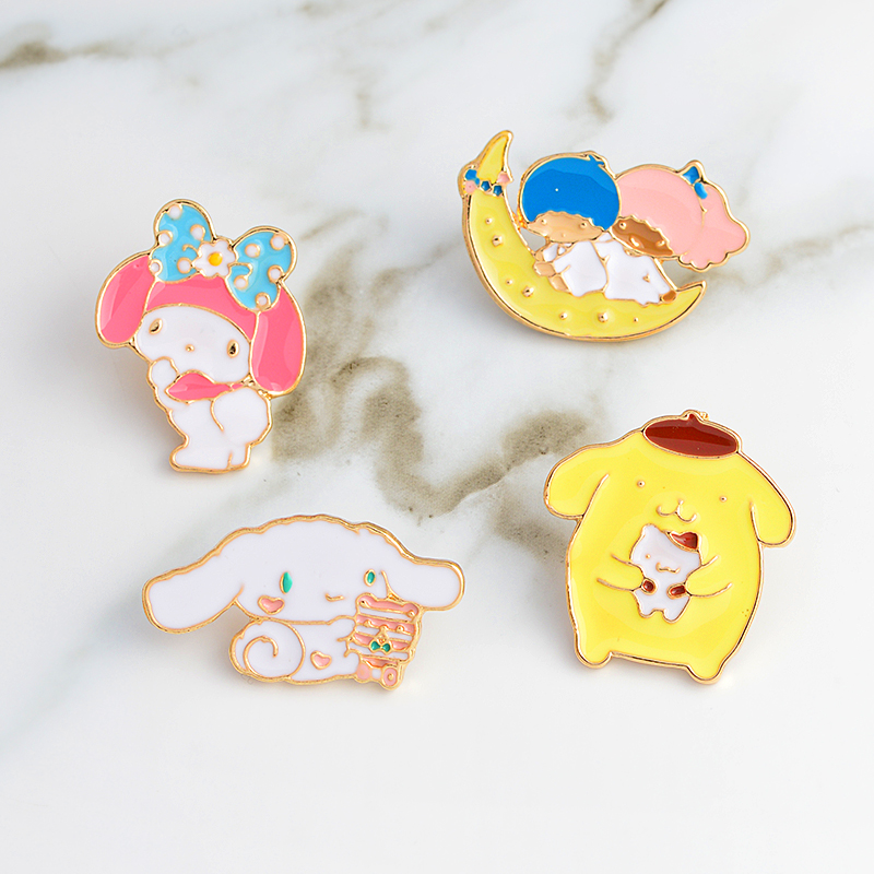 100% Quality Girl Boy On Moon Dog Cat Rabbit Rosette Brooches Collar Corsage Shirt Bag Cap Jacket Pin Badge Cartoon Jewelry Gift For Kids