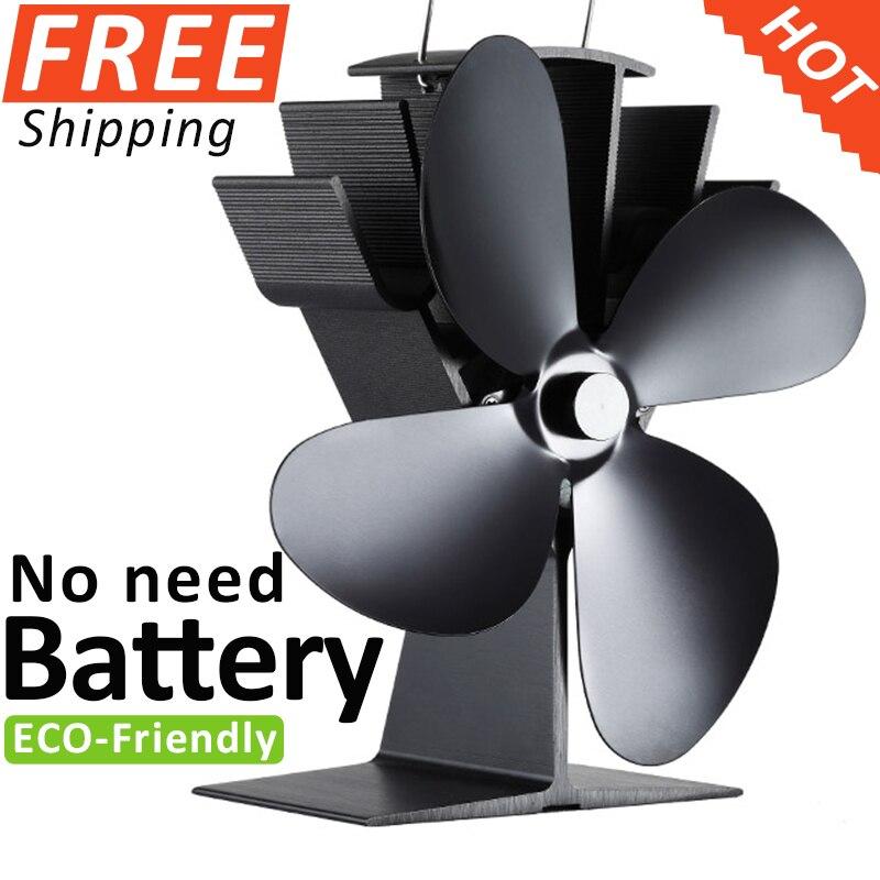 No Electronic Needed Aluminum Heat Powered Stove Fan Fireplace Fan Wood Burning Fan