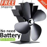 2015 Best Selling Aluminum Heat Powered Stove Fan Anodised Satin Black