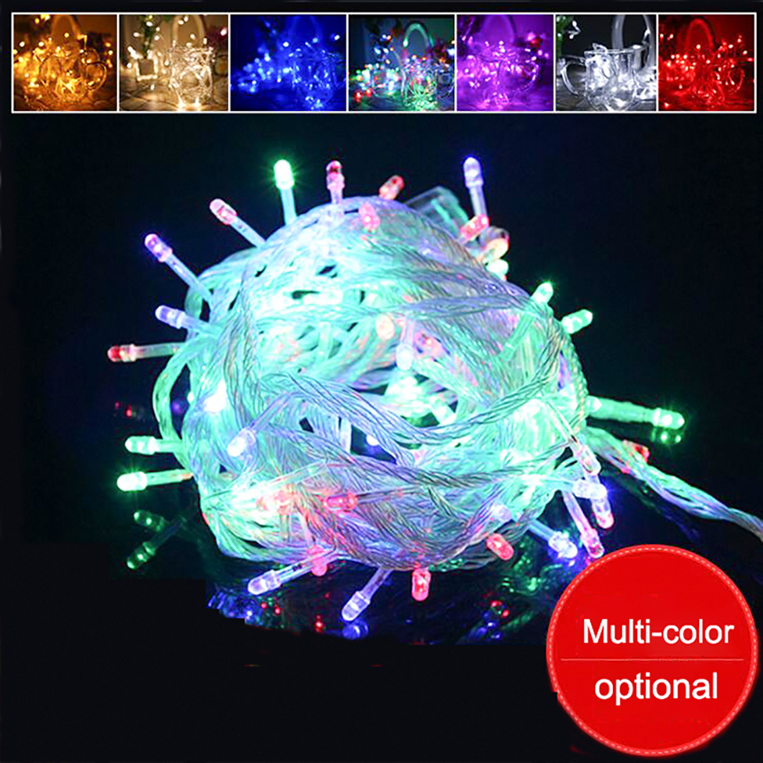 10M Waterproof 220V 100 LEDs Holiday String Lights for Wedding Christmas Festival Party Fairy Colorful LED String Strip Lights