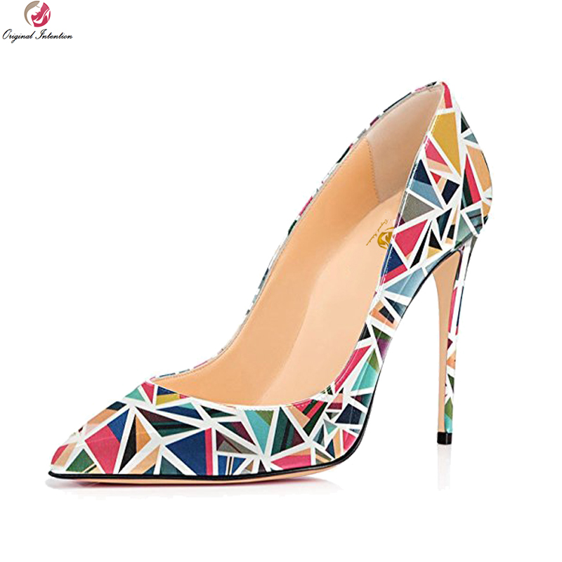 Original Intention New Stylish Women Pumps Sexy Pointed Toe Thin High Heels Pumps Elegant Multi Colors Shoes Woman US Size 4-15 creativesugar elegant pointed toe woman