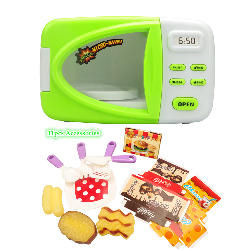 Kitchen Toys Simulated Microwave Ovens Food Discolored light Rotatable Realistic Educational Classic toys Hobbies Children Toys