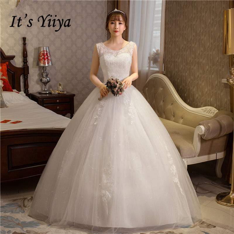 It's YiiYa Wedding Dress O-neck Sleeveless Fashion Long Wedding Dresses White Simple Lace Up Blackless Bridal Ball Gown HS249