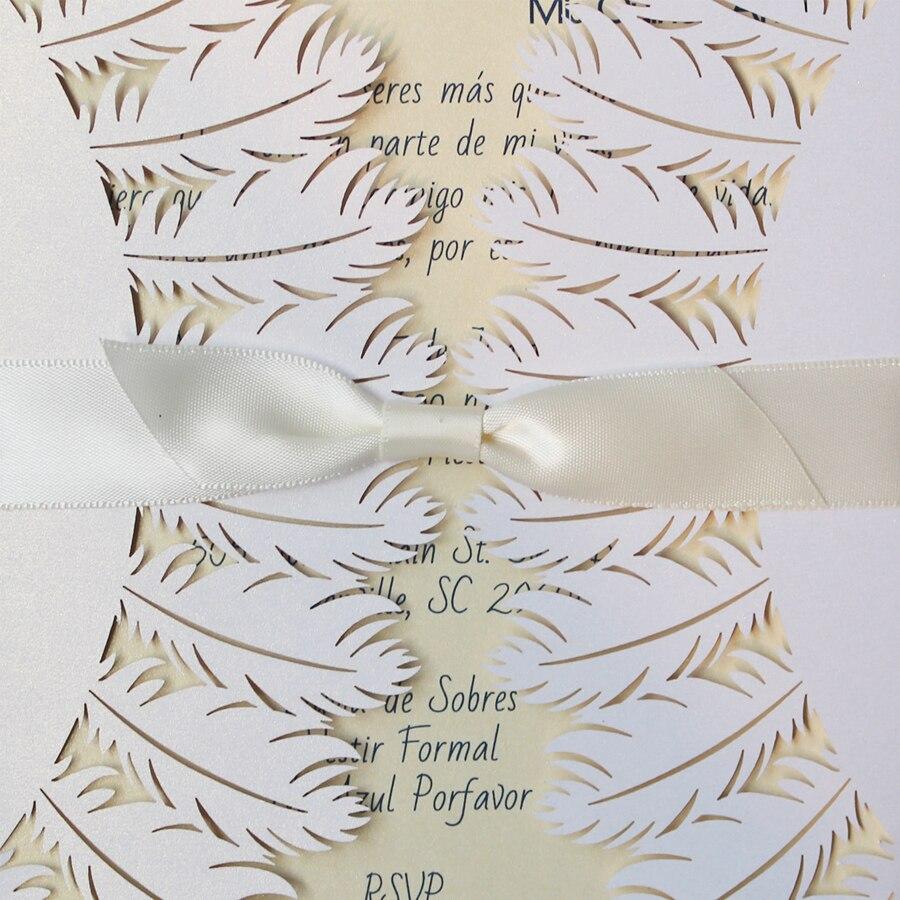 Laser Cut Pure White Wedding Invitations, Feather Wedding Invitation ...