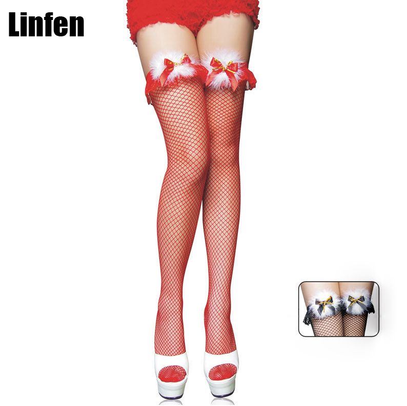 Women Fishnet Sexy Over Knee Stockings Nightclub Feather Bowknot Lace Silk Thigh High Tights Lingerie Pantyhose Christmas Red