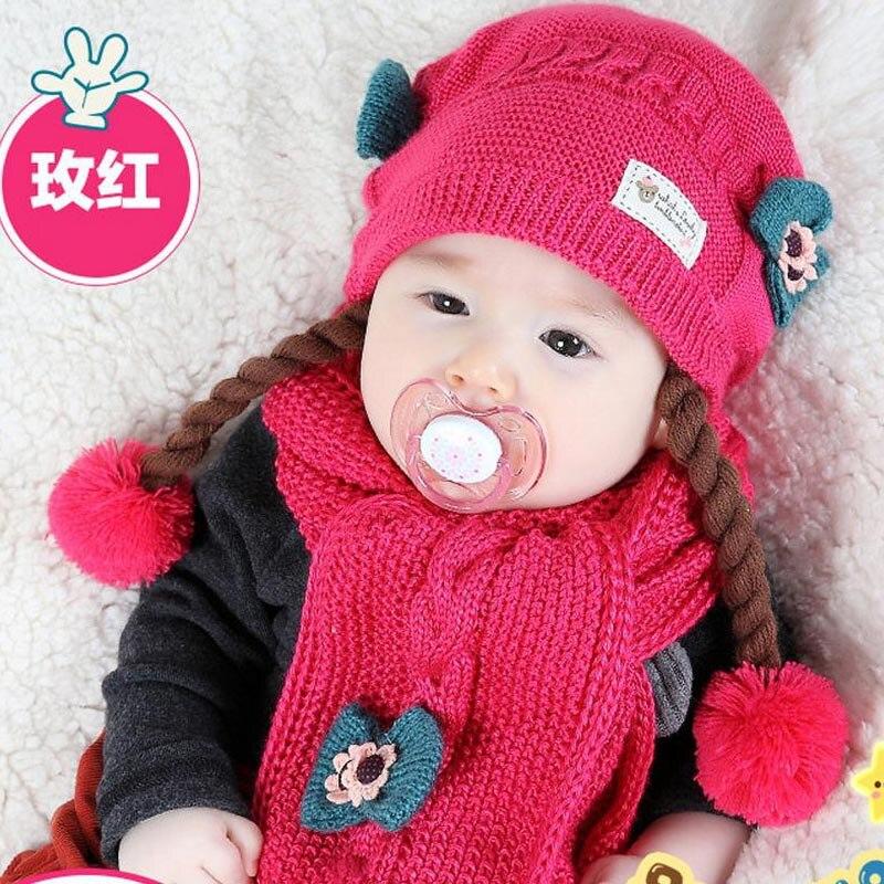 Doitbest корейский Поддельные косы детские вязаные шапки зима два цветка 2 шт детский шарф для девочки шляпа Набор Возраст 6 месяцев-2 лет - Цвет: rose
