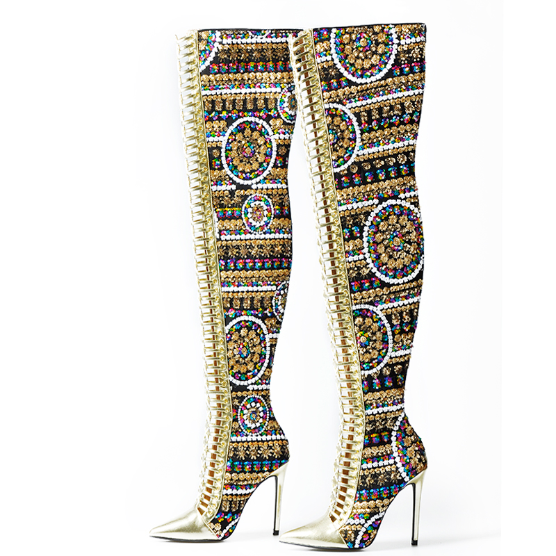 Sinsaut Women Shoes Winter Summer Shoes Sequined Cloth Over the Knee High Heels Boots Cross Tied International Show Boots