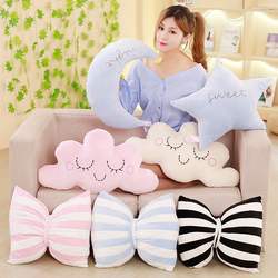 cute Sky Series Stuffed Moon, Star Clouds bowknot Plush Baby Toys Soft Cushion Nice baby sleeping Pillow kids gifts home decor