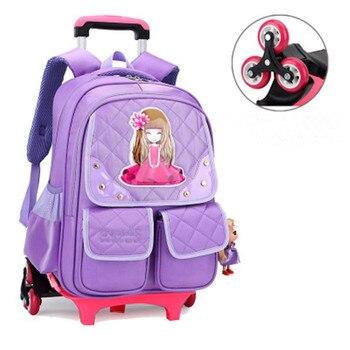 ZIRANYU Korean Style Children Backpack Kids 3 Wheels Stairs Detachable Trolley Schoolbags Girls School bags Mochilas Escolares