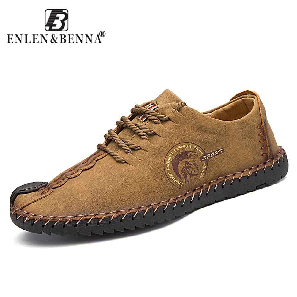 Men's Flats Loafers Casual Lace-up Comfortable Shoes Schuhe Leather Mannen Leisure Footwear Moccasin Sapato Masculino Spring