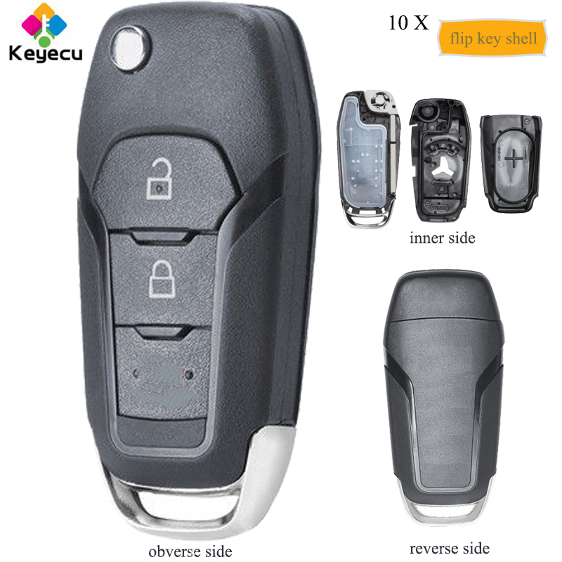 KEYECU 10PCS Lot Replacement Flip Remote Key Shell 2 Buttons Fob for Ford Fusion Edge Explorer