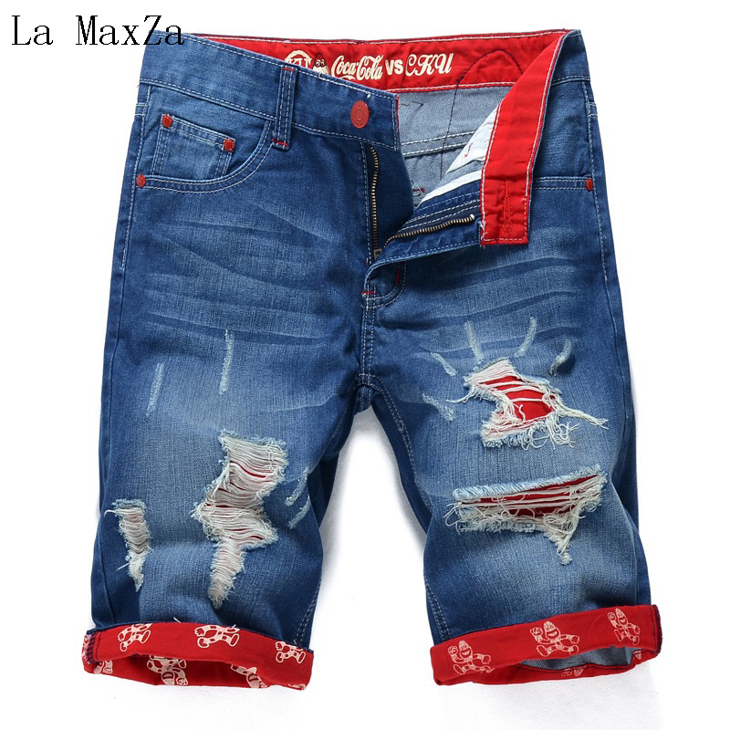 Fashion Ripped Denim Short Men Jeans Straight Pants Men Jeans Trousers Homme