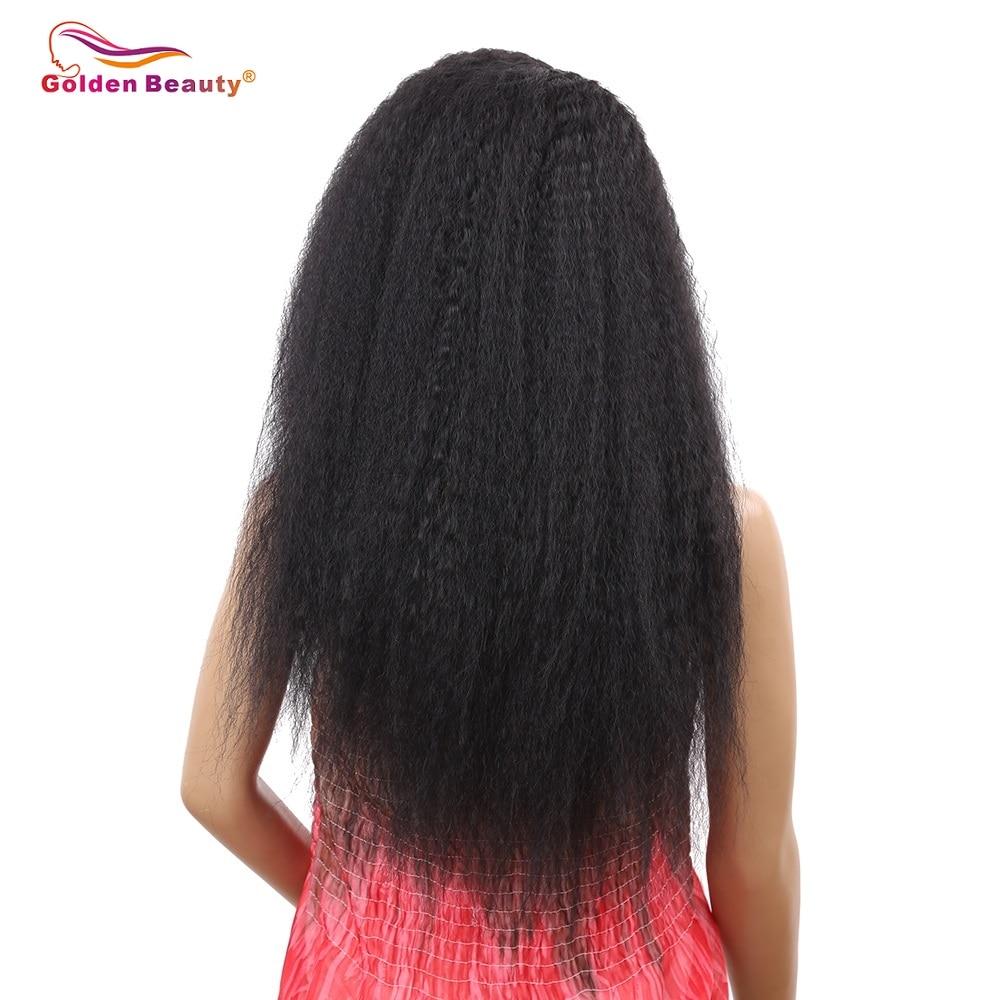 Golden Beauty 24inch Lång Kinky Straight Hair Side Part Lace Front - Syntetiskt hår - Foto 2