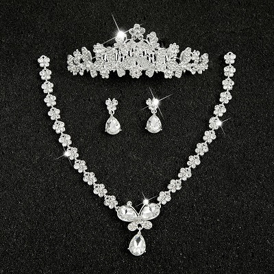 Hot Sale Sliver Plated Rhinestone Crystal Necklace+Earrings+Tiara 3pcs Jewelry Set For Bride Bridal Wedding Accessories (23)