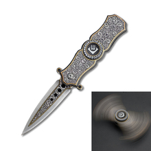 DuoClang 2 in 1 Fidget Spinner Metal& Folding Blade Knife 440 Stainless Steel Stiletto Knives Finger Hand Toy Best Gift
