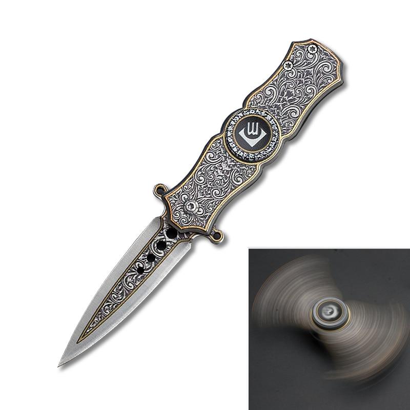 PEGASI 2 in 1 Fidget Spinner Metal& Folding Blade Knife 440 Stainless Steel Knives Finger ...