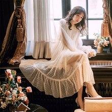 1e690b5d7 Primavera nueva ropa de mujer francés albaricoque polka dot de hadas de  encaje suelto Vestido largo