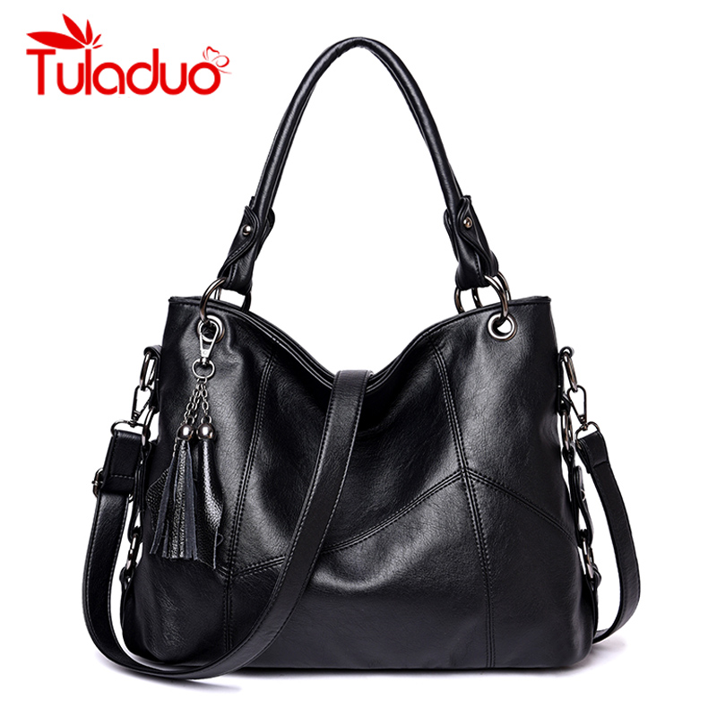 Tuladuo Fashion Leather Women Shoulder Bags Famous Designer Vintage Rivet Large Women Handbags Female Bag Big Ladies Tote Sac forudesigns vintage black pet dog printed women large handbags fashion ladies top handle bag girls shoulder female big tote bag