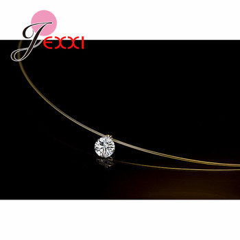 Discount Price 925 Sterling Silver Women Short Chain For Party Jewelry Clear Austrian Crystal Pendant Necklace Gift 1