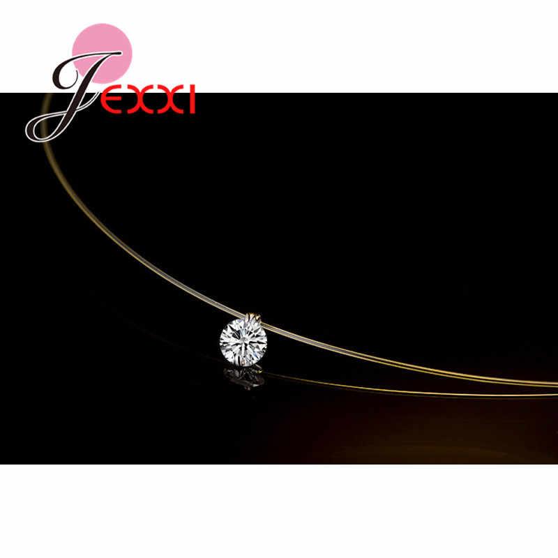 Harga Diskon 925 Sterling Silver Wanita Rantai Pendek untuk Pesta Perhiasan Jelas Austria Crystal Pendant Kalung Hadiah