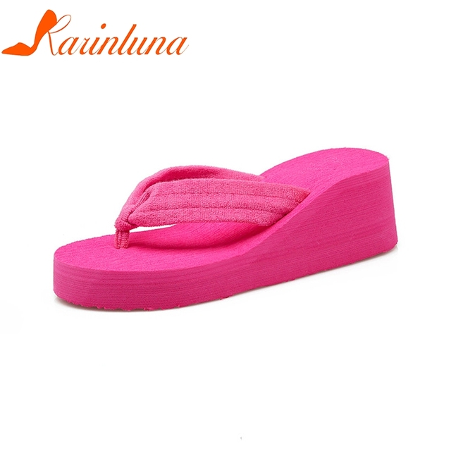 c37cbd9f845c6 KARINLUNA New women s Flat Flip Flops Outside Wedges Beach Shallow Shoes  Woman Casual Comfortable Summer Slippers Red Size 35-40