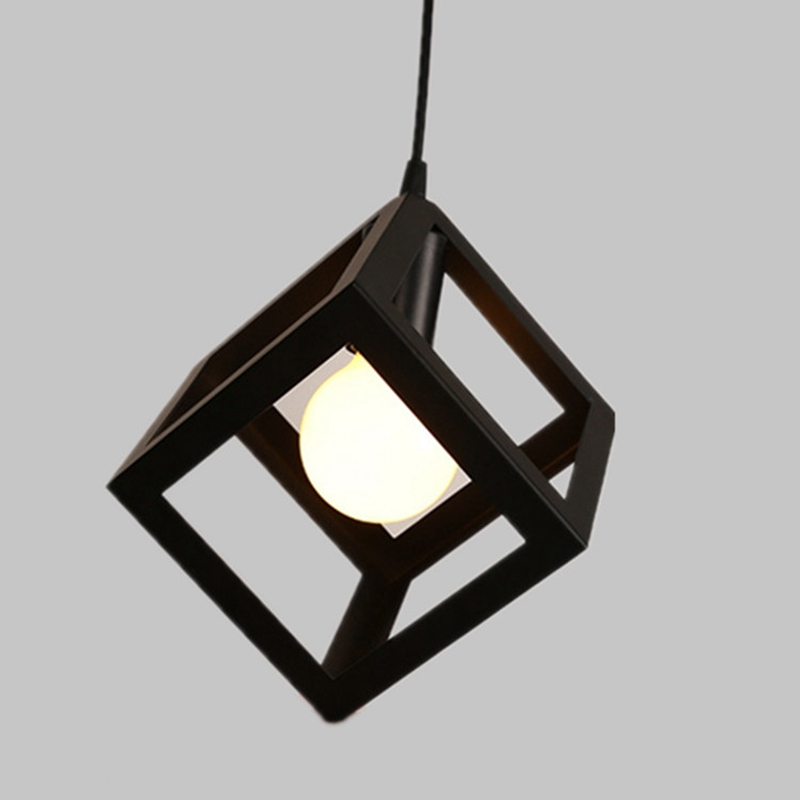 Creative American Square Pendant Lamp Living Room Bedroom Chandelier Loft Iron Cube Geometric Decorative Light For Friends Gift