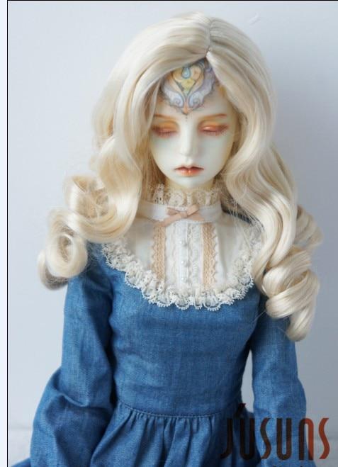JD343 SD 21-23 см синтетический, мохеровый, для куклы парик 8-9 дюймов длинный курчавый BJD волосы легко переоснастить - Цвет: Blond