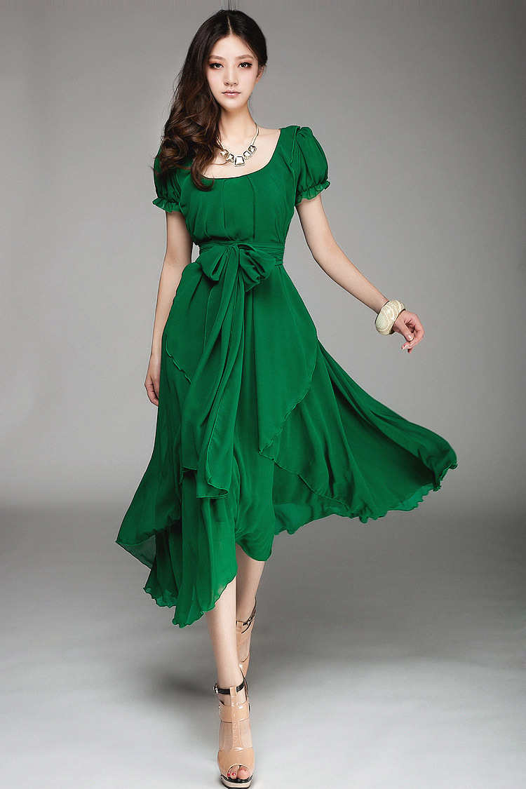 2015 Slim lady long fashion chiffon dress big size woman ...