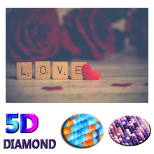 "5D DIY Diamond Painting ""Love"" Picture of Resin Full Round Drill Diamond Embroidery Cross Stitch Home Decor Couple Gift(China)"