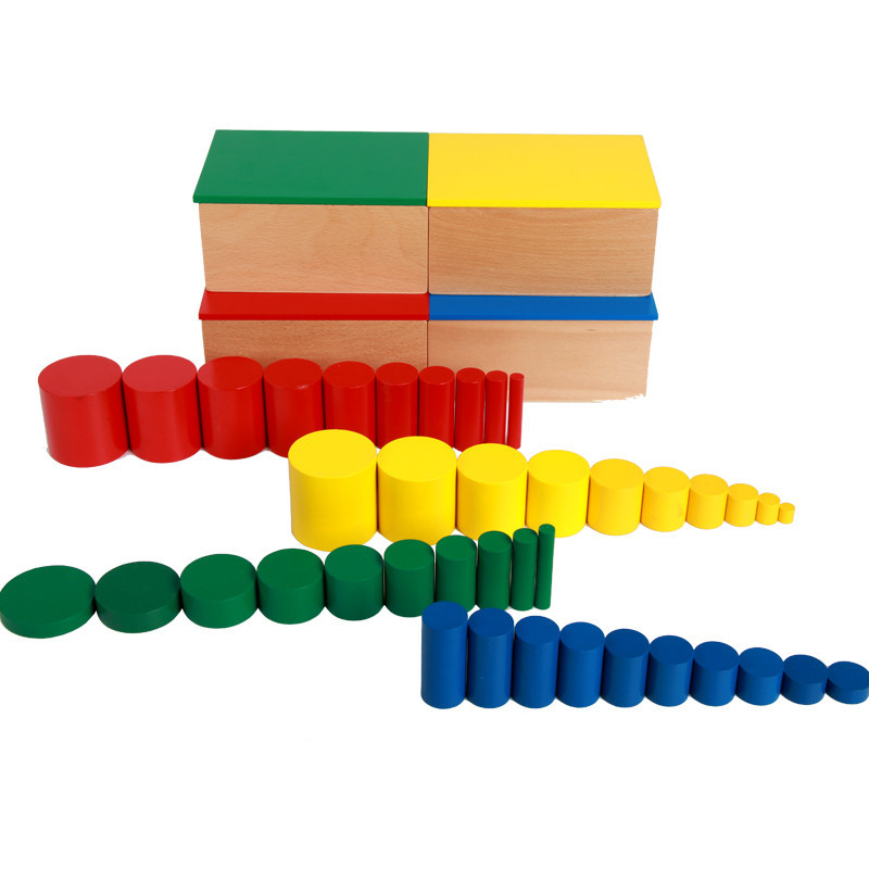 Baby Toys Montessori 4 Color Cylinder Wooden Toys Educational Ladder Cylinder Blocks Early Learning Birthday Gift 256pcs plastic educational building blocks toys baby intelligence sticks diy baby montessori early learning gift block toys