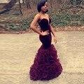 2016 borgonha sereia vestido de baile querida africano Aso Ebi Ruffles em camadas Sexy Backless longo modest vestidos de formatura
