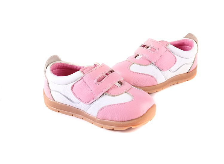 SandQ baby Boys sneakers soccers shoes girls sneakers Children leather shoes pink red black navy genuine leather flexible sole 33