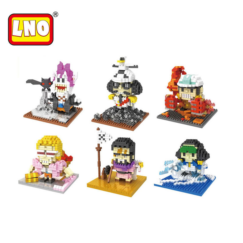 Full Set 6 Styles Mini Bricks One Piece LNO Toys Pirates Series Assembly Model Nano Building Blocks Cartoon Gift For Kid Juguete