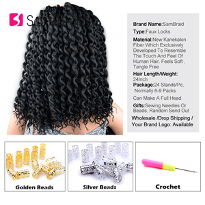 Image 2 - SAMBRAID Faux Locs Curly Crochet Hair Crochet Braids 24 Inch Braiding Hair Extensions Synthetic Hair For Women