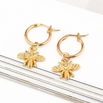 European Stereoscopic Trend  Cute Bee Hoop Earrings With Pendant Gold Silver Color Lovely Fashion Jewelry 3