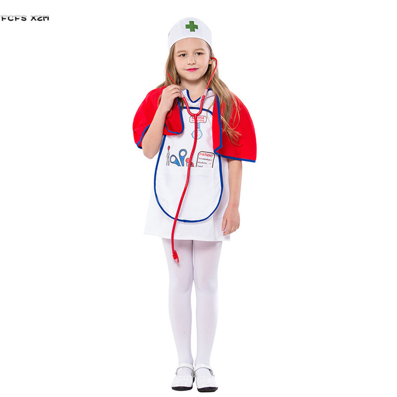 Novelty & Special Use Halloween Nurse Costumes For Girls Children Kindergarten Doctors Role Playing Game Cosplay Carnival Purim Masquerade Party Dress Girls Costumes
