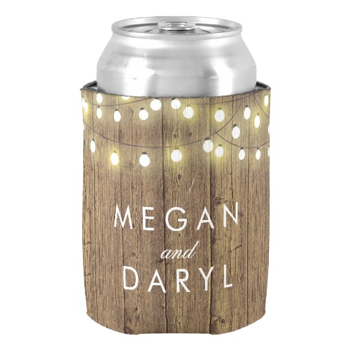 String Lights And Barn Wood Wedding Can Cooler Custom Monogram Neoprene Coolers For Valentines Gift Holders In Wine Chillers