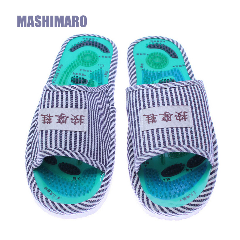Men Summer Foot Acupoint Massage Cotton Shoes Lady Foot Health Care Magnet Slippers Striped Pattern Indoor Shoes for Women Hot 1 pair health care foot acupoint massager flat slippers for male female