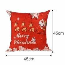 Xmas Pillowcase Santa Claus, Reindeer Linen Cushion Cover
