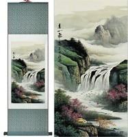 실크 중국어 잉크 수채화 풍경 산 강 폭포 아트 풍수 캔버스 벽 다 액자 스크롤 그림