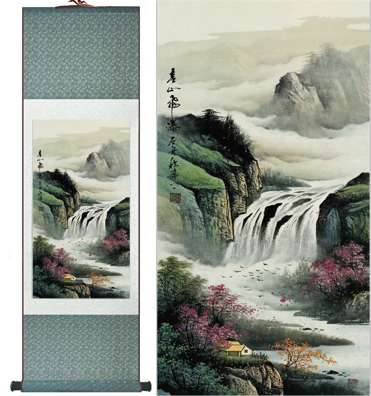 Silk Chinese ink watercolor landscape mountains river waterfalls art feng shui canvas wall damask picture framed scroll painting