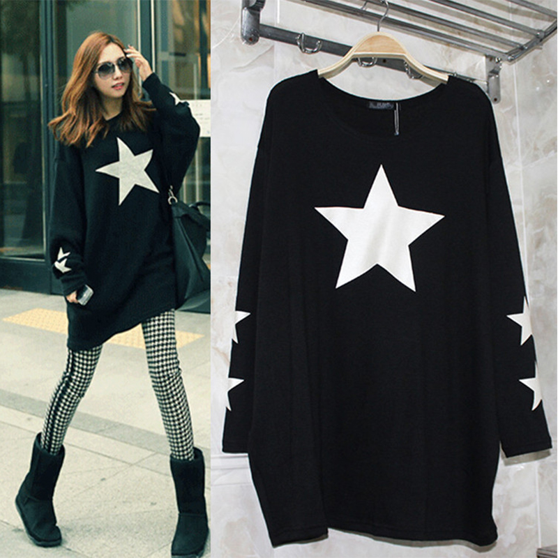 Winter and new fashion big yards, women's long knitted T-shirts, fat people bat long sleeve T-shirt 863