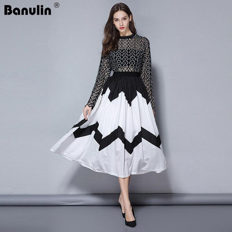 Banulin 2019 Fashion Designer Runway Midi Dress Summer Women Long sleeve Heart Hollow Out Patchwork Pleated